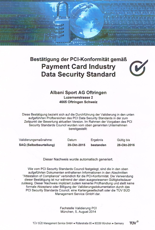 PCI Zertifikat 2015 / 2016 - online Shop soccersport.ch